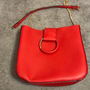 Bright red ZARA leather bag